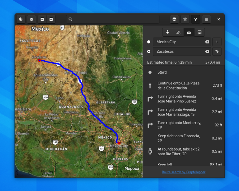 The updated GNOME Maps application interface.