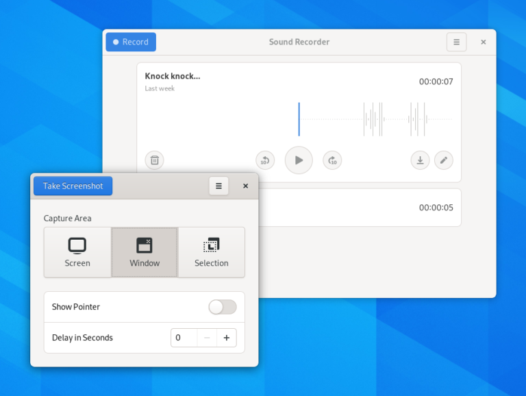 The new design for Screenshot and Sound Recorder
