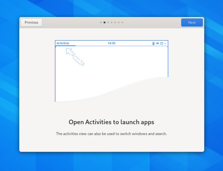 The new Welcome Tour application in GNOME 3.38.