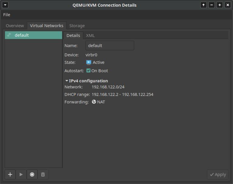 This image shows QEMU KVM virtual networks management interface