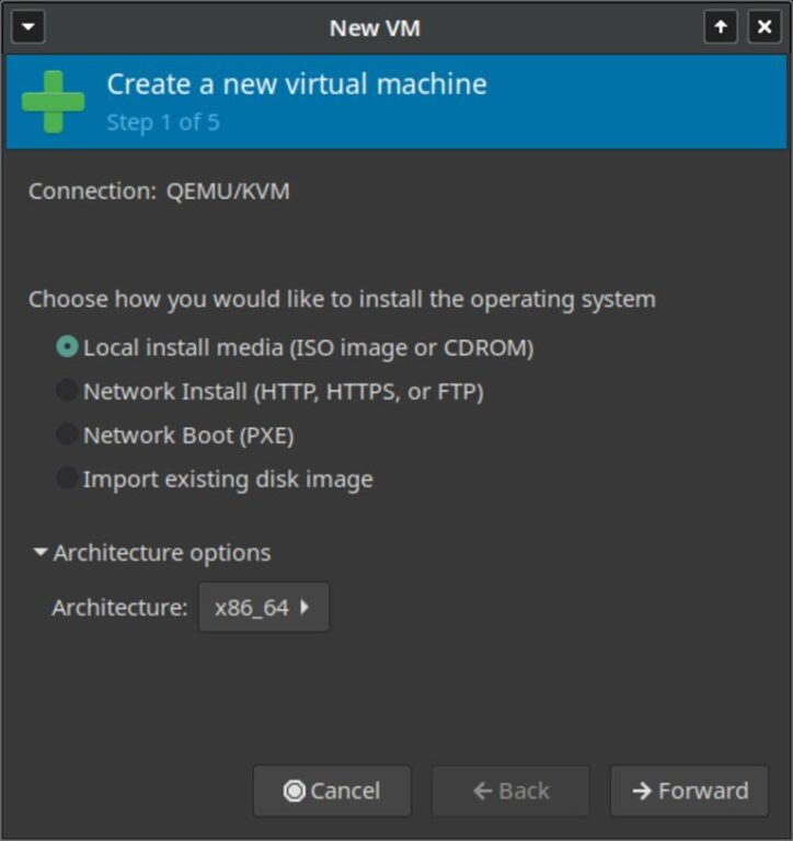 This image shows Virt-Manager new virtual machine step 1 of 5