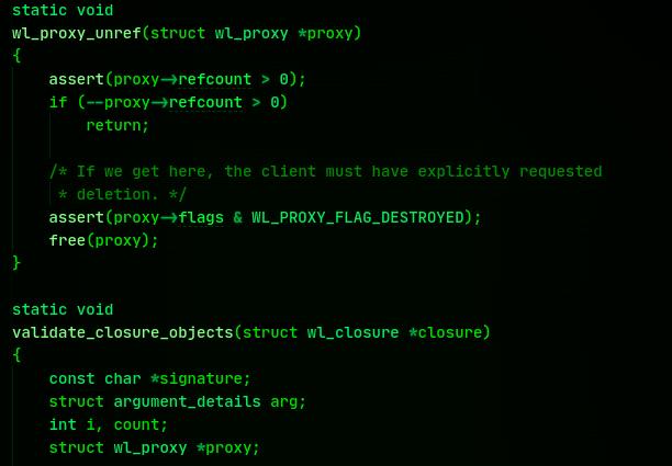 An excerpt of Wayland protocol code.