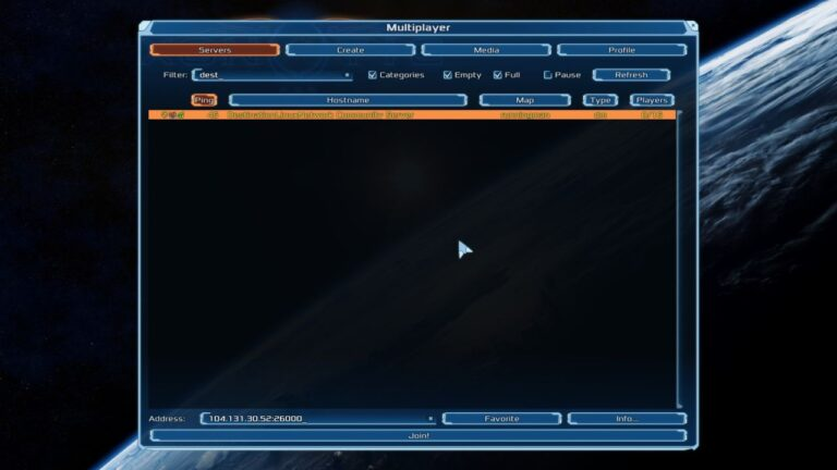 Multiplayer Matchmaking Search for Servers