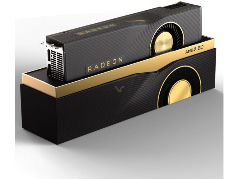 Pictured: RX 5700 XT. Beautiful Gold Graphics Card? Yes. Golden Graphics Child of Linux? No.