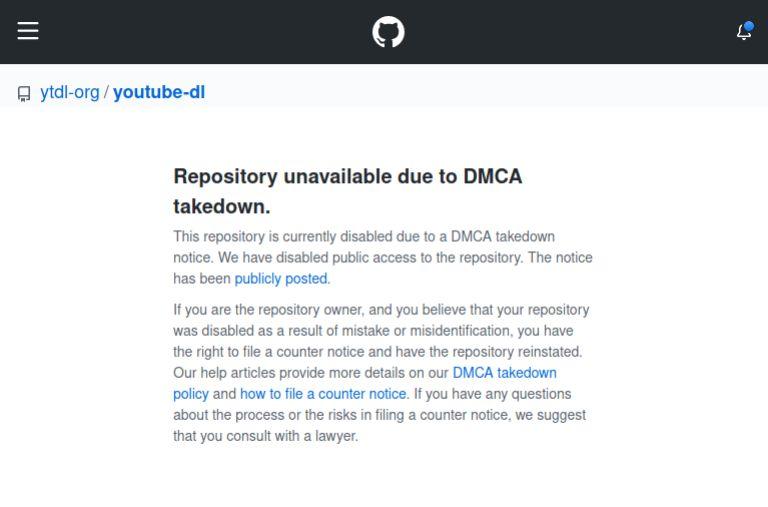 DMCA Takedown notice on GitHub