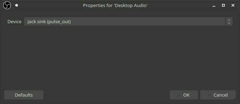OBS Studio desktop audio properties