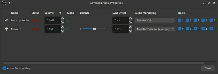 OBS Studio advanced audio properties