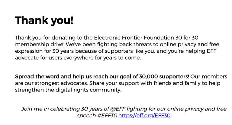 thank you notice for donation from EFF