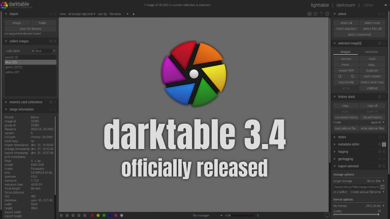 Darktable 3.4 Released, What's New for Open Source Photography