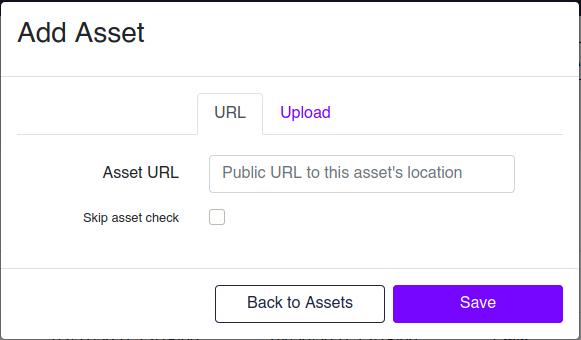 Add Asset URL