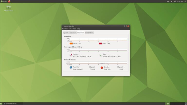 Ubuntu Mate System Monitor Desktop
