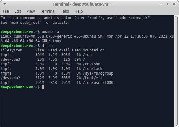Xubuntu Disk Usage DF Output