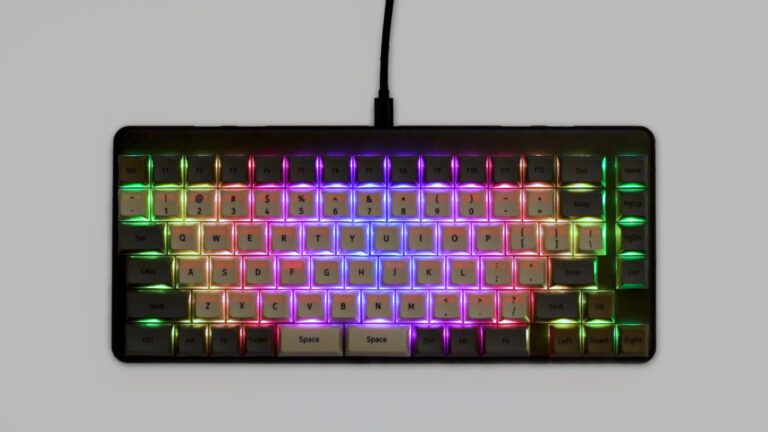 Photo of the RGB LEDs of the keyboard