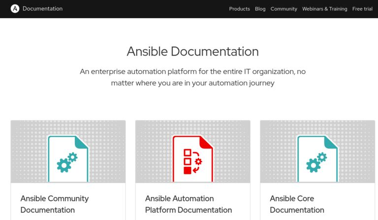 image of the homepage for Ansible Documentation