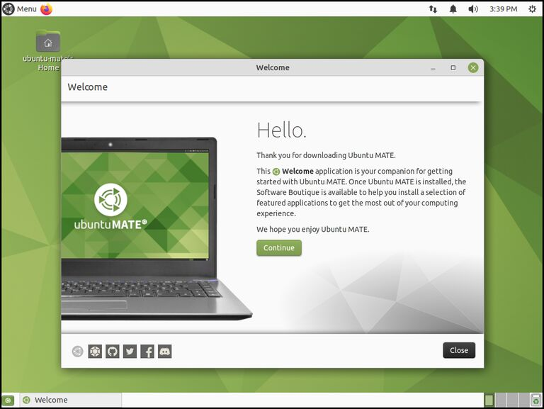 """This image shows the desktop of Ubuntu MATE 21.10 """"Impish Indri"""""""