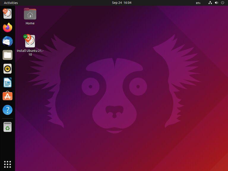 """This image shows the desktop of Ubuntu 21.10 """"Impish Indri"""""""