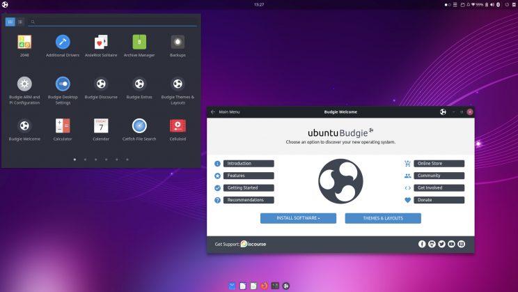 """This image shows the desktop of Ubuntu Budgie 21.10 """"Impish Indri"""""""