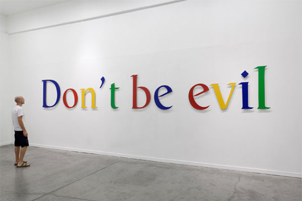 Adopted motto of Google that has since been removed from their offices. (Credit: mybroaband.co.za)