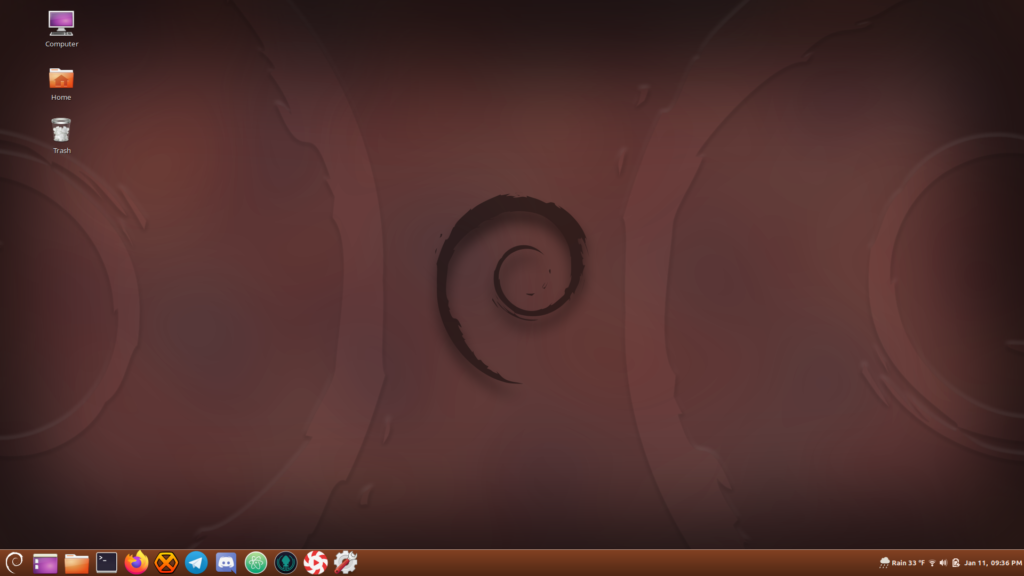 "My Cinnamon Desktop running on Debian ""Sid""."