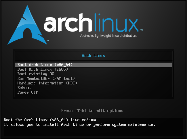 Boot screen for Arch Linux, the king of rolling release distributions. (Credit: Chris Hoffman on howtogeek.com)