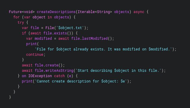 Example of asynchronous Dart code. (Credit: dart.dev)