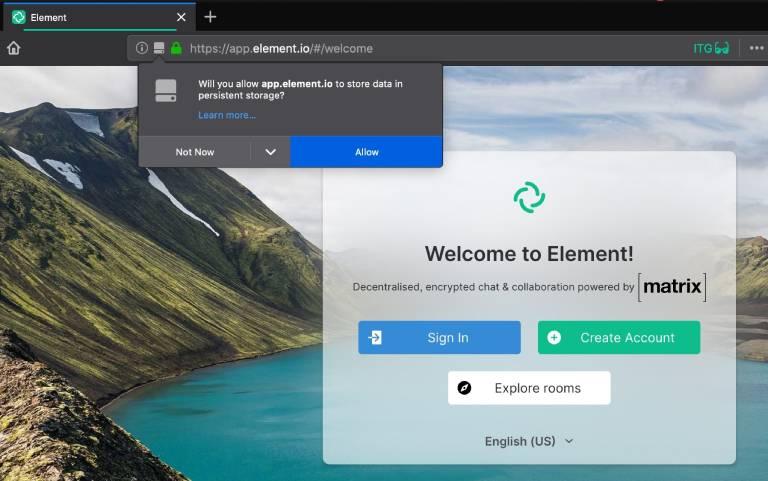 Dashboard of https://app.element.io