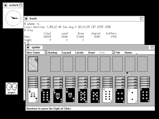An early version of Slackware with Linux kernel 0.99 and the X Window System. (Credit: Neils Horn)