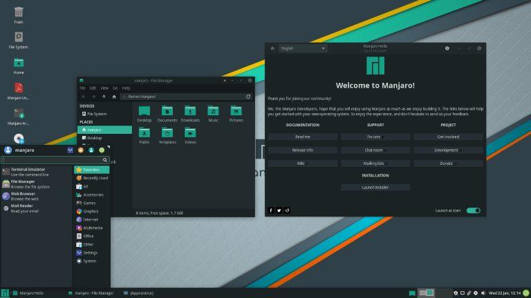 Manjaro 19.0 with flagship Xfce desktop environment.