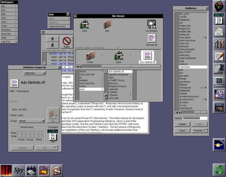 The NeXTSTEP desktop