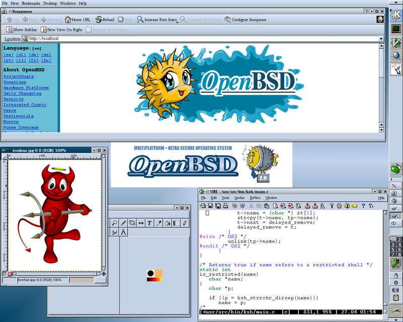 An early version of OpenBSD with KDE