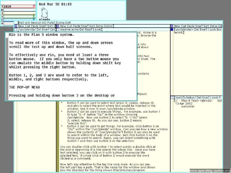 The Plan 9 from Bell Labs operating system.