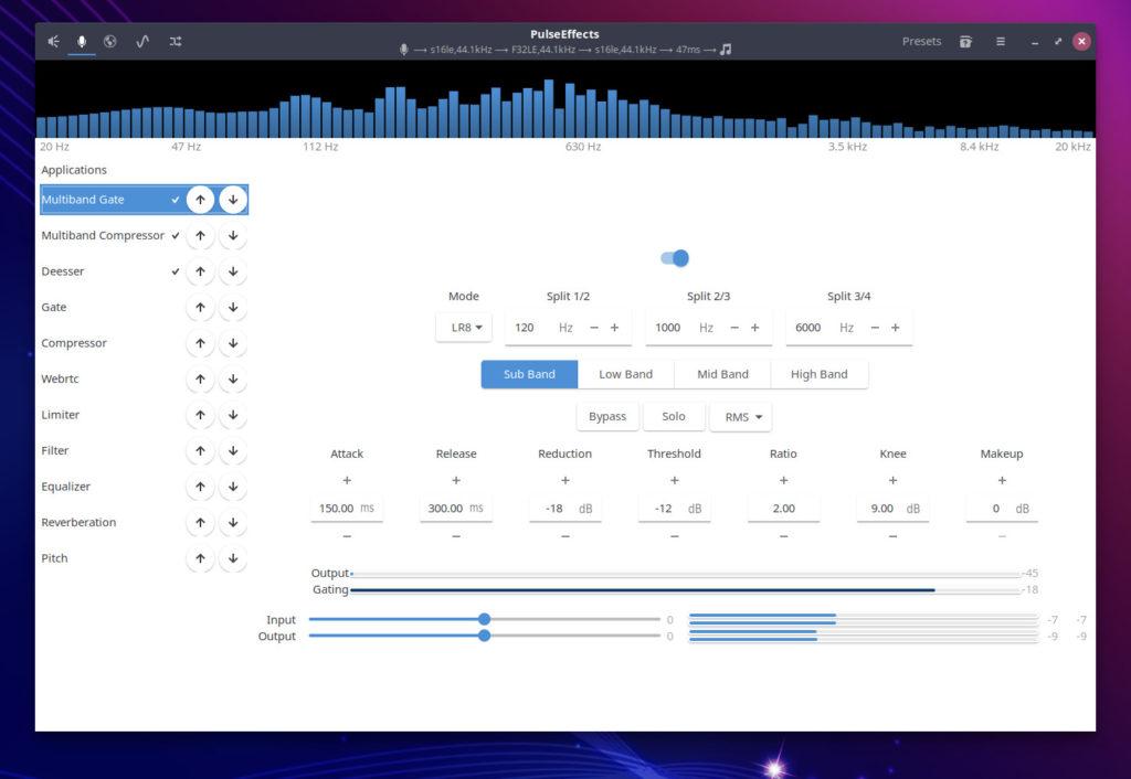 screenshot of a configured PulseEffects window