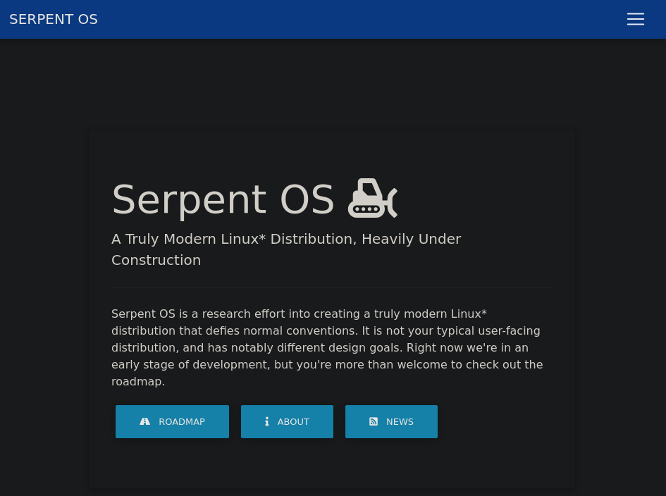 The new Serpent OS homepage. (Credit: serpentos.com)